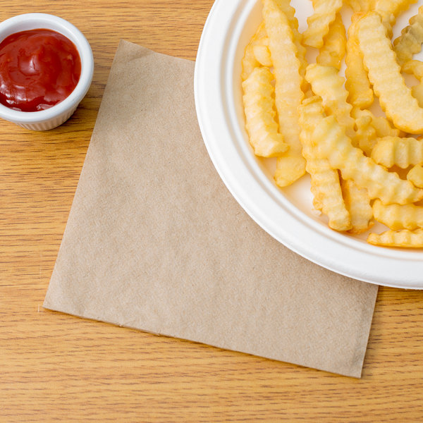"12"" x 12"" Natural Kraft 1/4 Fold Luncheon Napkin - 6000/Case"