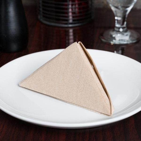 "12"" x 12"" Natural Kraft 1/4 Fold Luncheon Napkin - 6000/Case"