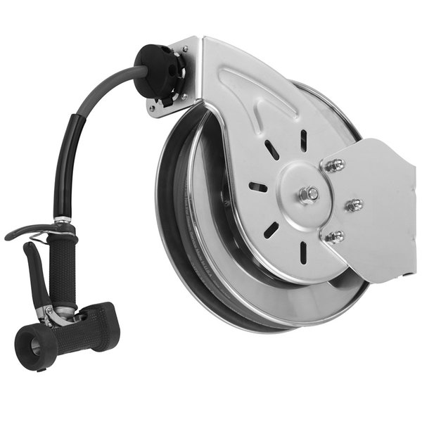 T&S B-7142-05 50' Open Stainless Steel Hose Reel with Front Trigger Water Gun