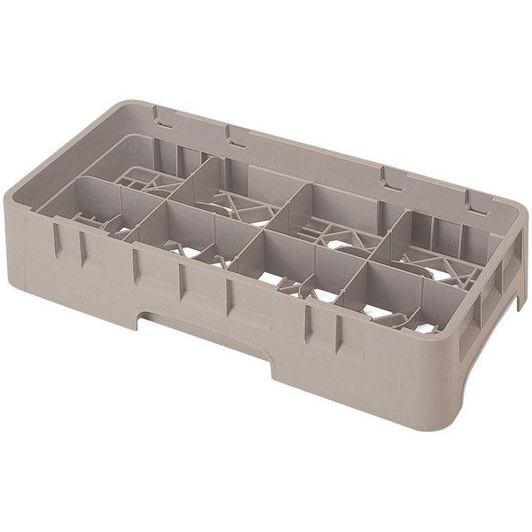 "Cambro 8HS1114184 Beige Camrack Customizable 8 Compartment 11 3/4"" Half Size Glass Rack"