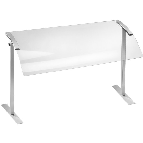 """Cal-Mil 2026-4-55 45"""" Acrylic Single Sneeze Guard with Stainless Steel Frame"""