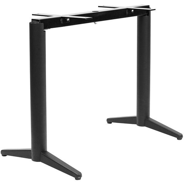 "NOROCK Trail TTST22BK T-Base Self-Stabilizing 22"" Sandstone Black Powder-Coated Steel Outdoor / Indoor Standard Height Table Base Main Image 1"