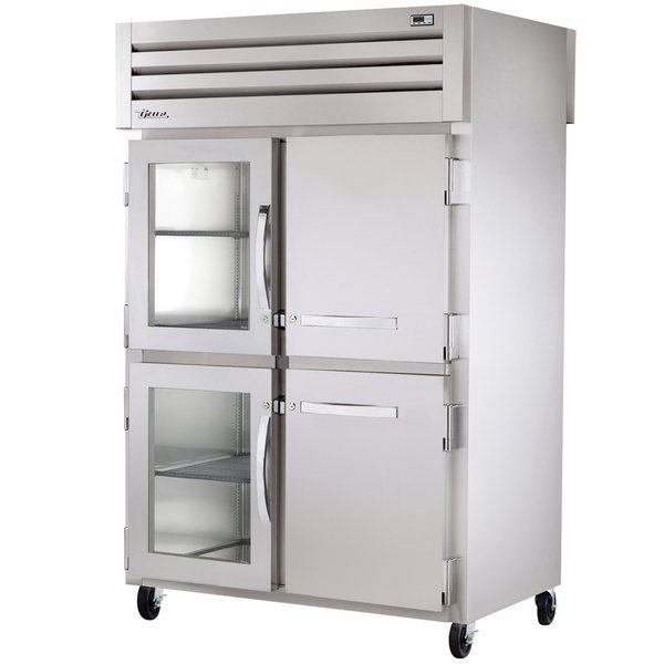 True STG2RPT-2HG/2HS-2G Specification Series Two Section Pass-Through Refrigerator with Solid and Glass Front Half Doors and Glass Rear Doors