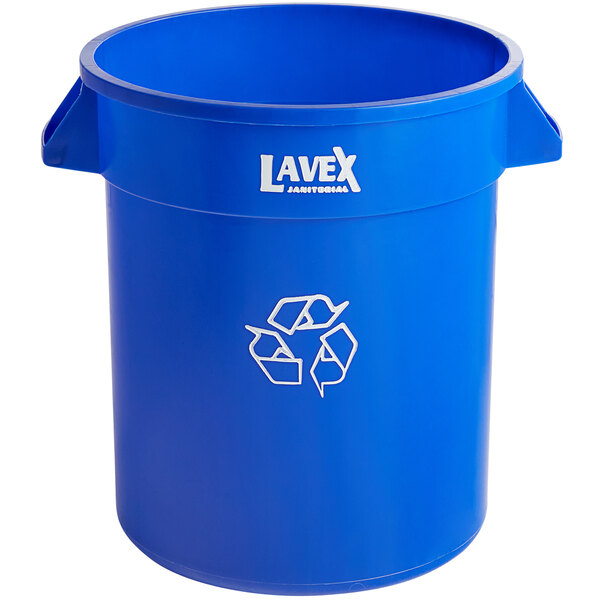 Lavex Janitorial 20 Gallon Blue Round Commercial Recycling Can