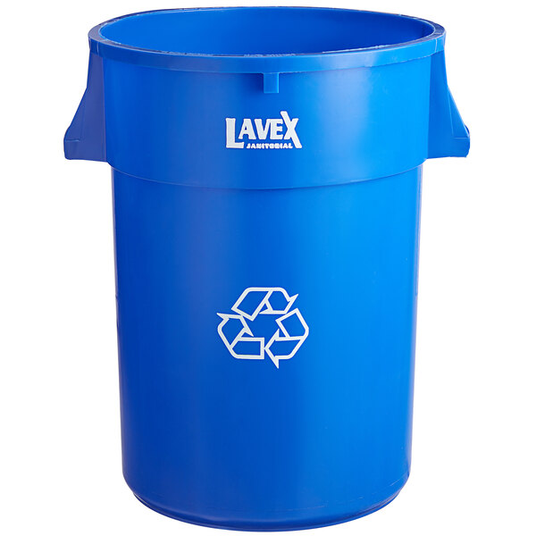 Lavex Janitorial 44 Gallon Blue Round Commercial Recycling Can