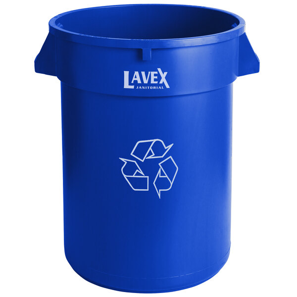 Lavex Janitorial 32 Gallon Blue Round Commercial Recycling Can