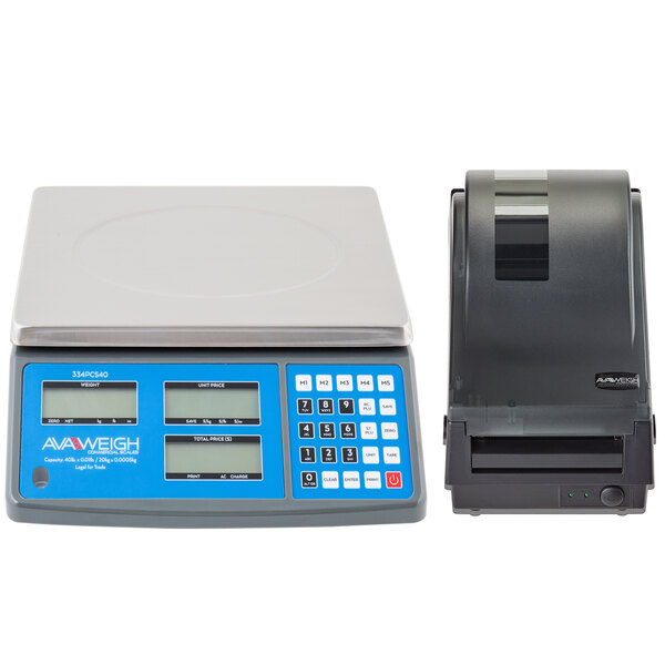 AvaWeigh PCS40K 40 lb. Digital Price Computing Scale, Legal for Trade with Thermal Label Printer Main Image 1