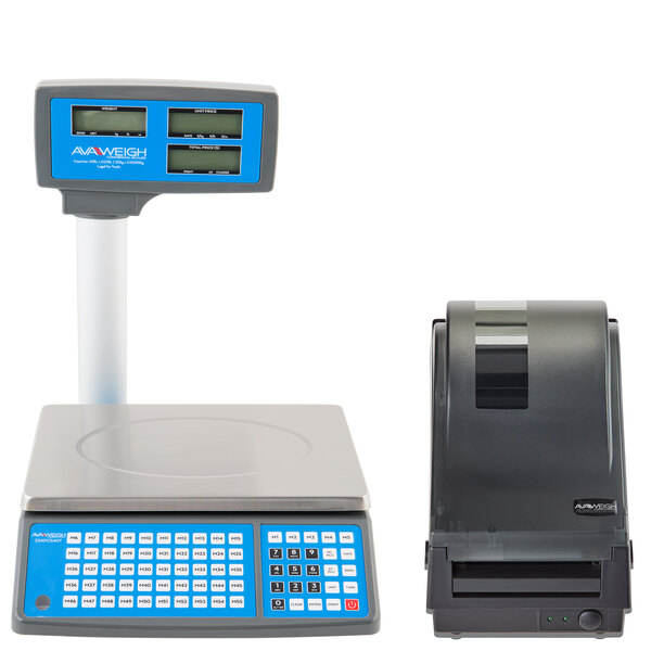 AvaWeigh PCS40TK 40 lb. Digital Price Computing Scale with Tower, Legal for Trade with Thermal Label Printer Main Image 1