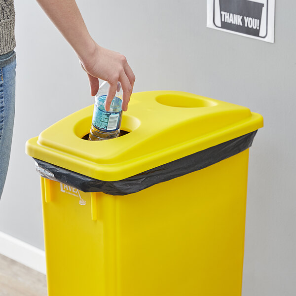 Lavex Janitorial Yellow Slim Rectangular Recycling Trash Can Bottle / Can Lid Main Image 2
