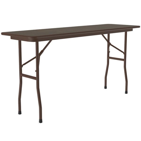 Correll Folding Table 18 X 72 Melamine Top Walnut Cf1872m