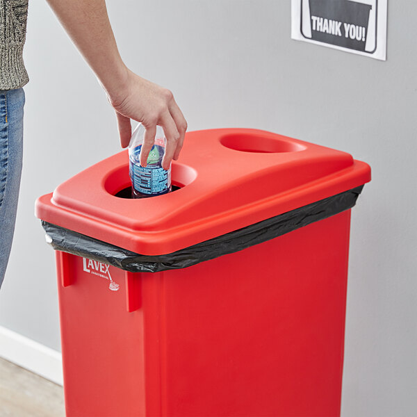 Lavex Janitorial Red Slim Rectangular Recycling Trash Can Bottle / Can Lid Main Image 2