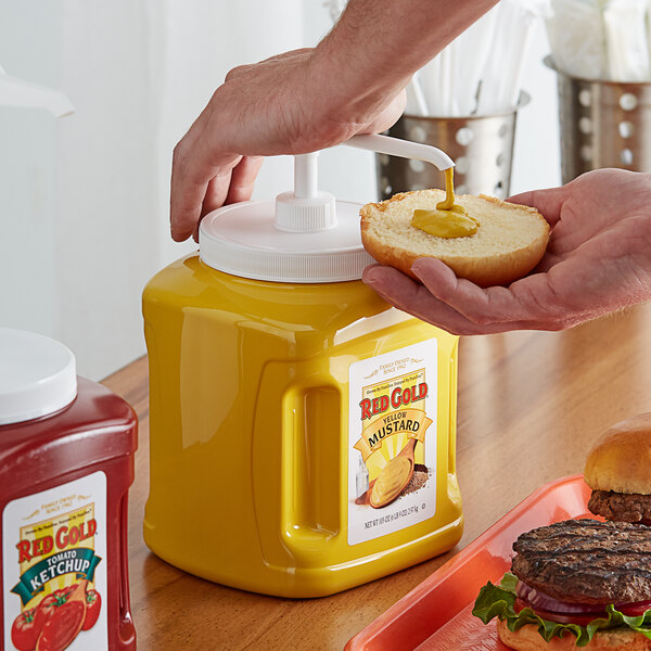 Red Gold Yellow Mustard 105 oz. Plastic Jug with Pump - 6/Case Main Image 2