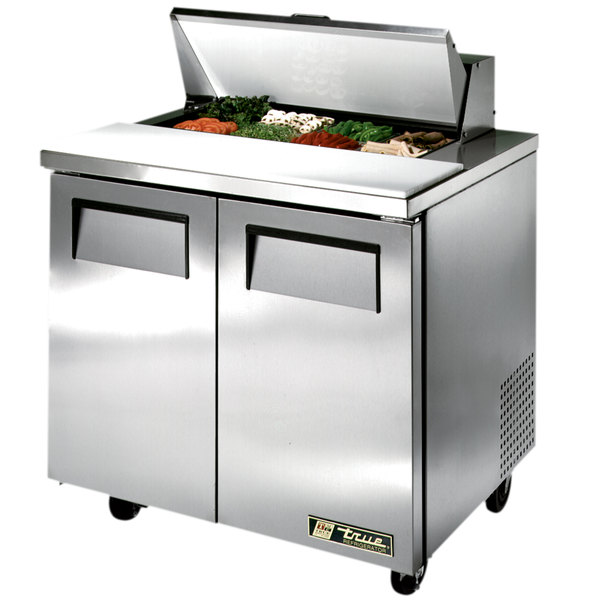"""True TSSU-36-8 36"""" 2 Door Refrigerated Sandwich Prep Table"""