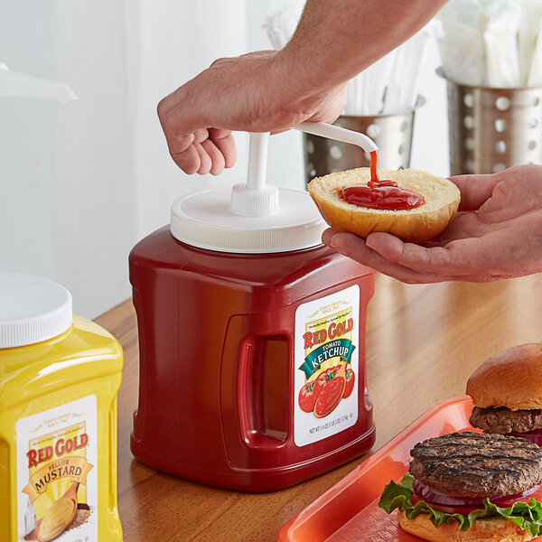 Red Gold Fancy Ketchup 114 oz. Plastic Jug with Pump - 6/Case Main Image 2