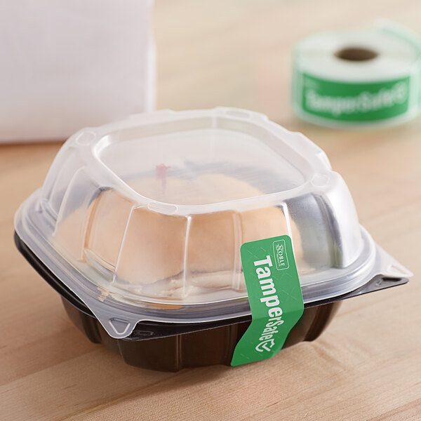 """TamperSafe 1"""" x 3"""" Customizable Green Paper Tamper-Evident Label - 250/Roll Main Image 3"""