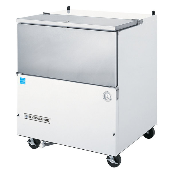 """Beverage-Air SM34N-W-02 34 1/2"""" White 1-Sided Cold Wall Milk Cooler with Stainless Steel Interior"""