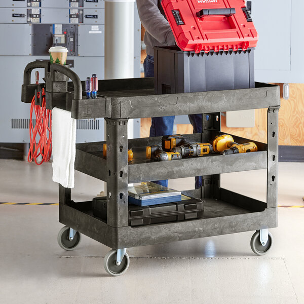 """Lavex Industrial Large Black 3-Shelf Utility Cart with Ergonomic Handle and Built-In Tool Compartments - 43 1/8"""" x 24 5/8"""" x 38 1/8"""" Main Image 3"""
