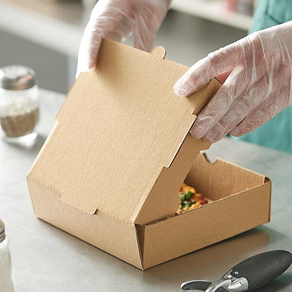 "Choice 7"" x 7"" x 2"" Kraft Corrugated Plain Pizza Box - 50/Case Main Image 3"