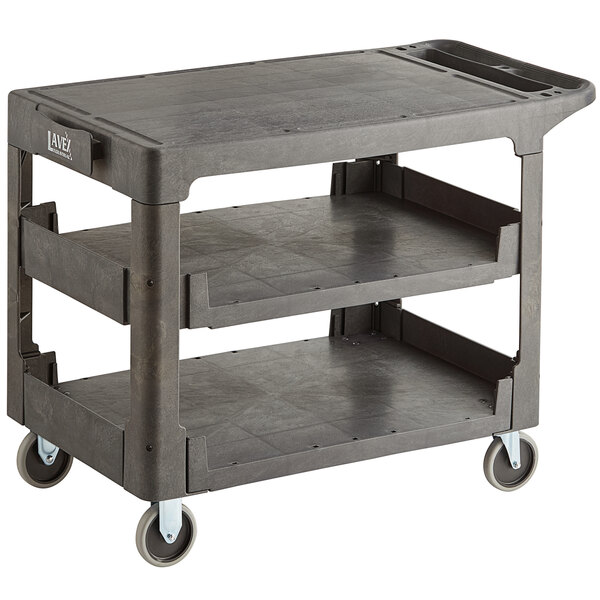 """Lavex Industrial Large Black 3-Shelf Utility Cart with Flat Top and Built-In Tool Compartment - 44"""" x 25 1/4"""" x 32 1/4"""" Main Image 1"""
