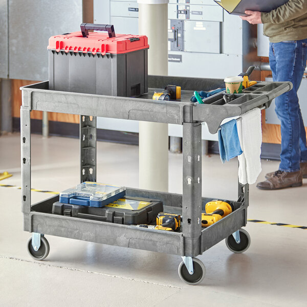 """Lavex Industrial Large Gray 2-Shelf Utility Cart with Premium Handle and Built-In Tool Compartments - 46 3/4"""" x 25 1/2"""" x 33 1/2"""" Main Image 3"""