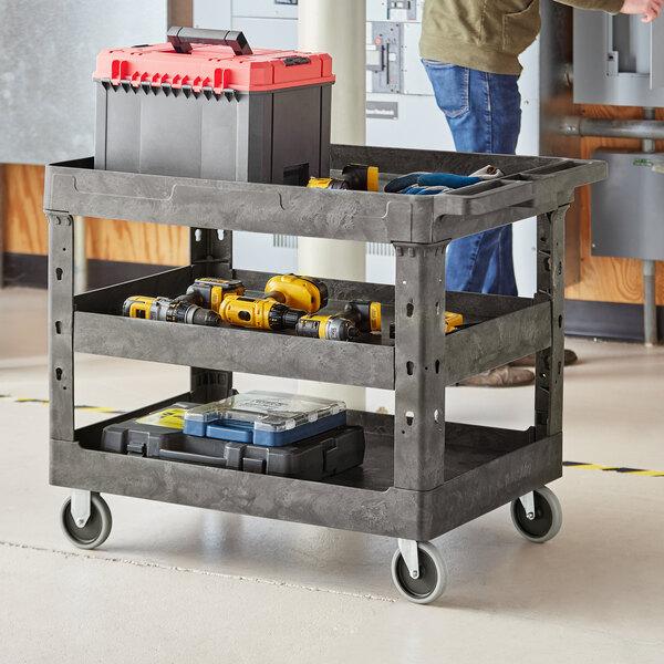 "Lavex Industrial Large Black 3-Shelf Utility Cart - 40 3/4"" x 25 1/2"" x 33 1/2"" Main Image 3"