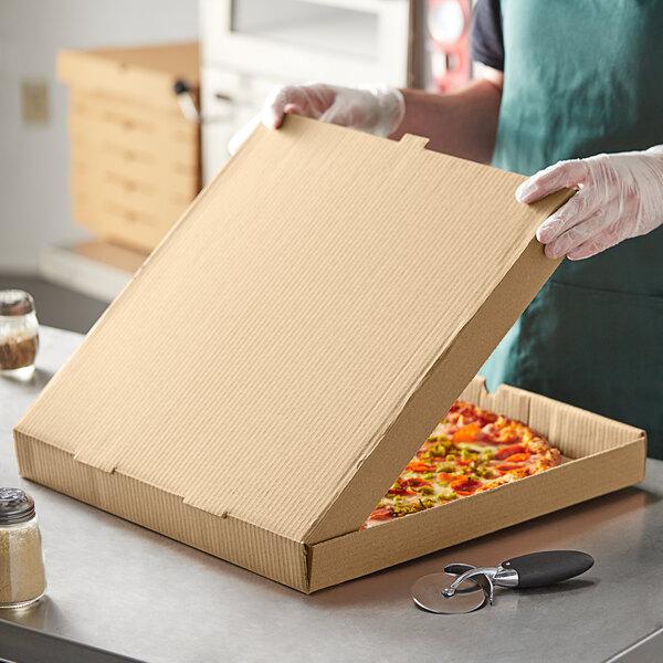 "Choice 18"" x 18"" x 2"" Kraft Corrugated Plain Pizza Box - 50/Case Main Image 3"