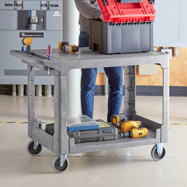 """Lavex Industrial Large Gray 2-Shelf Utility Cart with Flat Top and Built-In Tool Compartment - 44"""" x 25 1/4"""" x 32 1/4"""" Main Image 3"""
