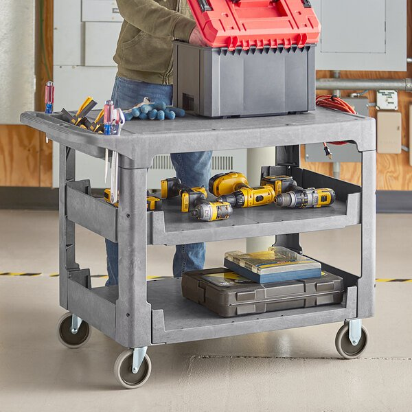 """Lavex Industrial Large Gray 3-Shelf Utility Cart with Flat Top and Built-In Tool Compartment - 44"""" x 25 1/4"""" x 32 1/4"""" Main Image 3"""