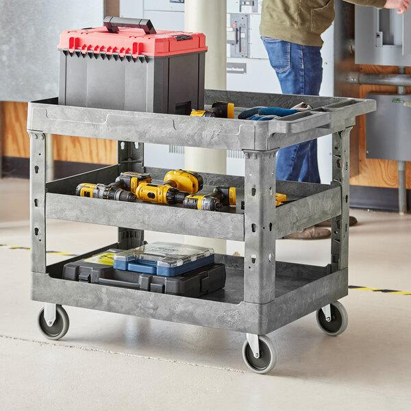 "Lavex Industrial Large Gray 3-Shelf Utility Cart - 40 3/4"" x 25 1/2"" x 33 1/2"" Main Image 3"