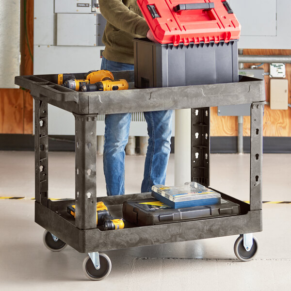 "Lavex Industrial Large Black 2-Shelf Utility Cart - 40 3/4"" x 25 1/2"" x 33 1/2"" Main Image 3"