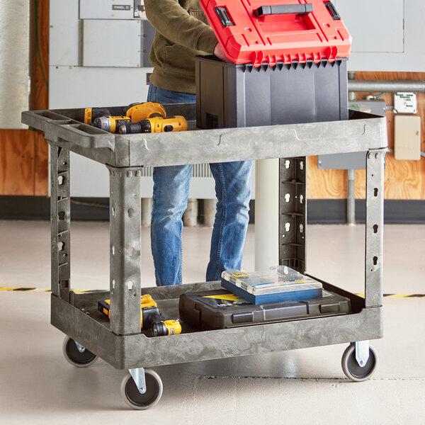 "Lavex Industrial Large Gray 2-Shelf Utility Cart - 40 3/4"" x 25 1/2"" x 33 1/2"" Main Image 3"