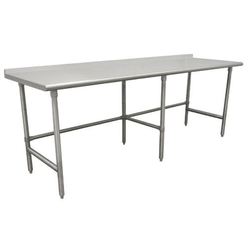 """Advance Tabco TFMS-2411 24"""" x 132"""" 16 Gauge Open Base Stainless Steel Commercial Work Table with 1 1/2"""" Backsplash"""