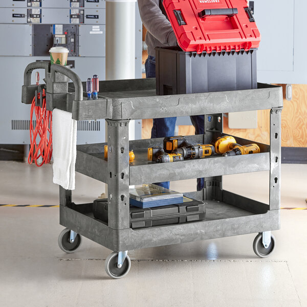 """Lavex Industrial Large Gray 3-Shelf Utility Cart with Ergonomic Handle and Built-In Tool Compartments - 43 1/8"""" x 24 5/8"""" x 38 1/8"""" Main Image 3"""