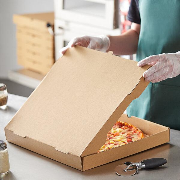 "Choice 16"" x 16"" x 2"" Kraft Corrugated Plain Pizza / Bakery Box - 50/Case Main Image 3"