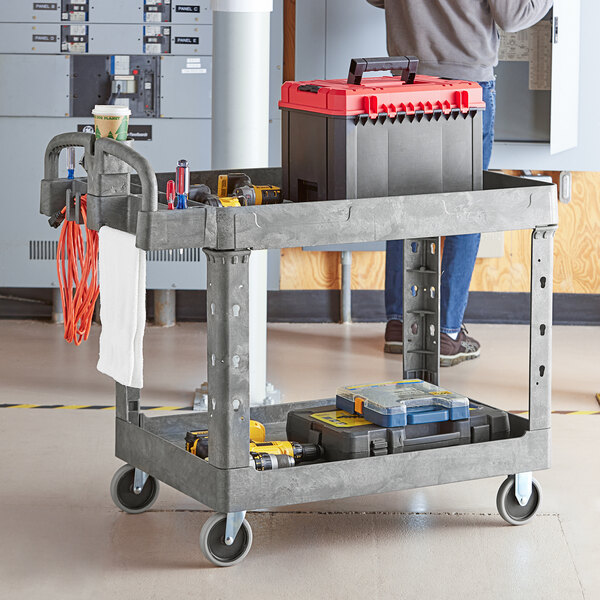 """Lavex Industrial Large Gray 2-Shelf Utility Cart with Ergonomic Handle and Built-In Tool Compartments - 43 1/8"""" x 24 5/8"""" x 38 1/8"""" Main Image 3"""