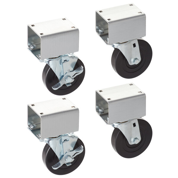 """Vollrath 38099 4"""" Swivel Plate Casters for ServeWell Hot and Cold Food Tables - 4/Set Main Image 1"""