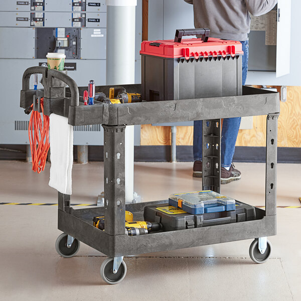"""Lavex Industrial Large Black 2-Shelf Utility Cart with Ergonomic Handle and Built-In Tool Compartments - 43 1/8"""" x 24 5/8"""" x 38 1/8"""" Main Image 3"""