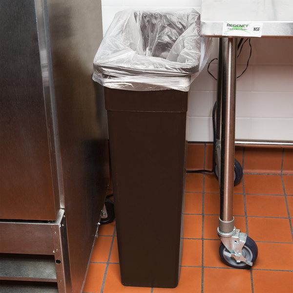 Continental 8322BN 23 Gallon Brown Wall Hugger / Slim Trash Can