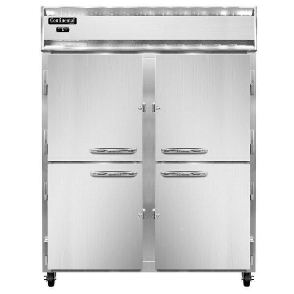 "Continental Refrigerator 2FESN-SS-HD 57"" Half Door Extra Wide Shallow Depth Reach-In Freezer - 40 Cu. Ft. Main Image 1"