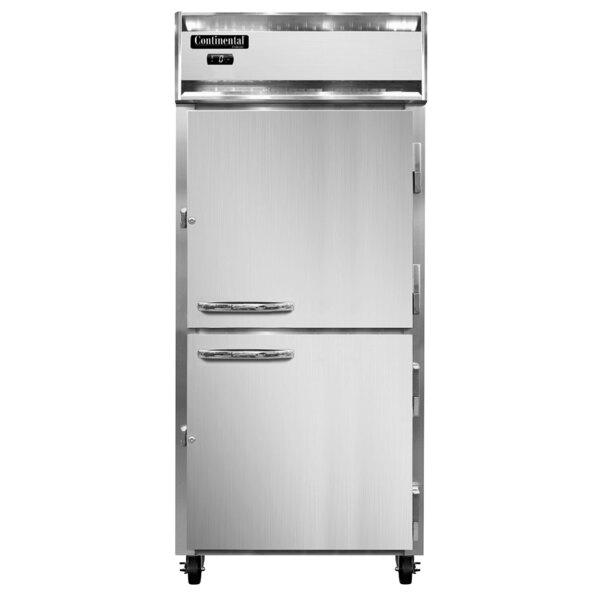 "Continental Refrigerator 1FXSN-SS-HD 36 1/4"" Half Door Extra Wide Shallow Depth Reach-In Freezer - 26 Cu. Ft. Main Image 1"