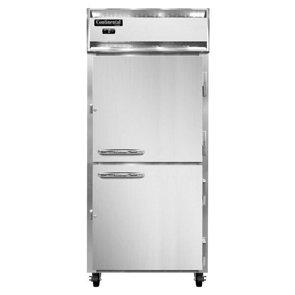 "Continental Refrigerator 1FXN-SS-HD 36 1/4"" Half Door Extra Wide Reach-In Freezer - 30 Cu. Ft. Main Image 1"