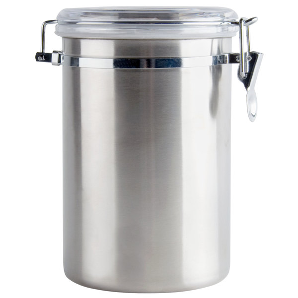 2 Qt Stainless Steel Ingredient Storage Canister with Clear Plastic Lid