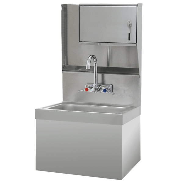 "Advance Tabco 7-PS-727 Hand Sink with Security Installation and Paper Towel Dispenser - 17 1/4"" x 15 1/4"""