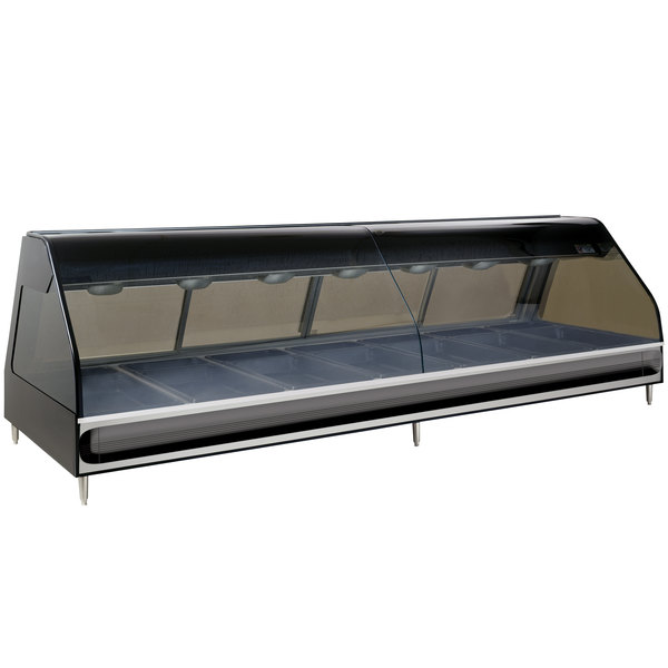 """Alto-Shaam ED2-96/PR BK Black Heated Left Display Case with Curved Glass - Right Self Service 96"""" Main Image 1"""