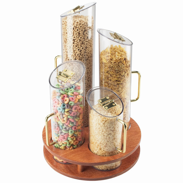 Cal-Mil 723-53 Four Bin Turntable Cereal Dispenser with Wooden Base Main Image 1