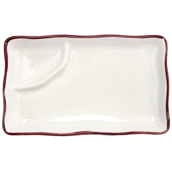 "CAC 666-77-W Japanese Style 8"" x 4"" Divided China Plate - Black Non-Glare Glaze / Creamy White - 24/Case"