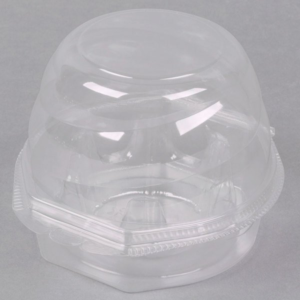 Swirl Dome 1 Compartment Hinged Clear Cupcake Container  - 270/Case