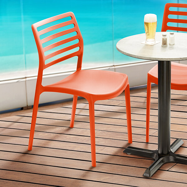 Lancaster Table & Seating Allegro Orange Resin Side Chair Main Image 5