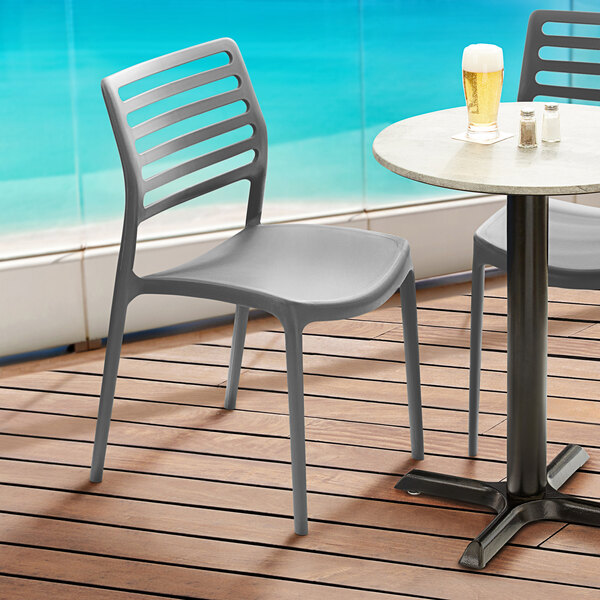Lancaster Table & Seating Allegro Charcoal Stackable Resin Side Chair Main Image 5