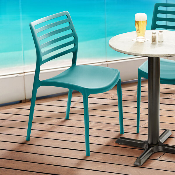 Lancaster Table & Seating Allegro Teal Resin Side Chair Main Image 5